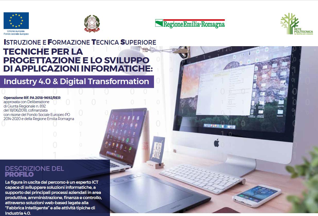 Corso IFTS – TECNICHE PER LA PROGETTAZIONE E LO SVILUPPO DI APPLICAZIONI INFORMATICHE: Industry 4.0 & Digital Transformation